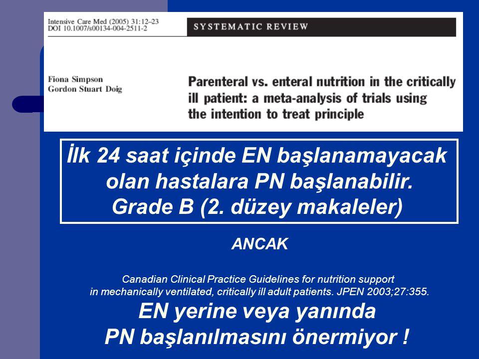İlk 24 saat içinde EN başlanamayacak olan hastalara PN başlanabilir.