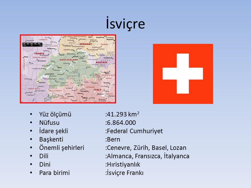 İsviçre Yüz ölçümü :41.293 km2 Nüfusu :6.864.000