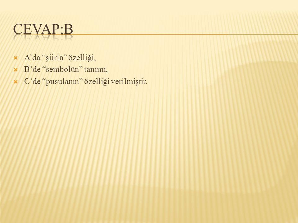 CEVAP:B A'da şiirin özelliği, B'de sembolün tanımı,