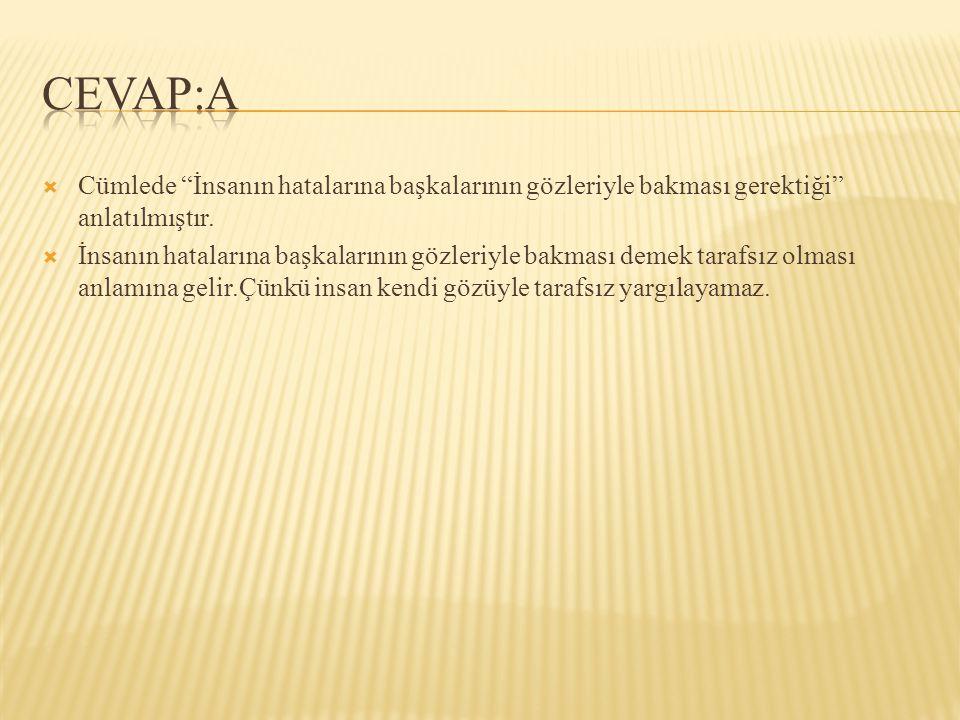 CEVAP:A Cümlede İnsanın hatalarına başkalarının gözleriyle bakması gerektiği anlatılmıştır.