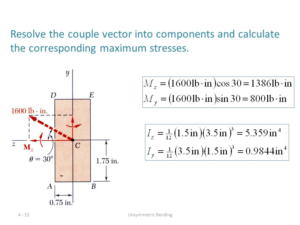 Resolve the couple vector into components and calculate the corresponding maximum stresses.