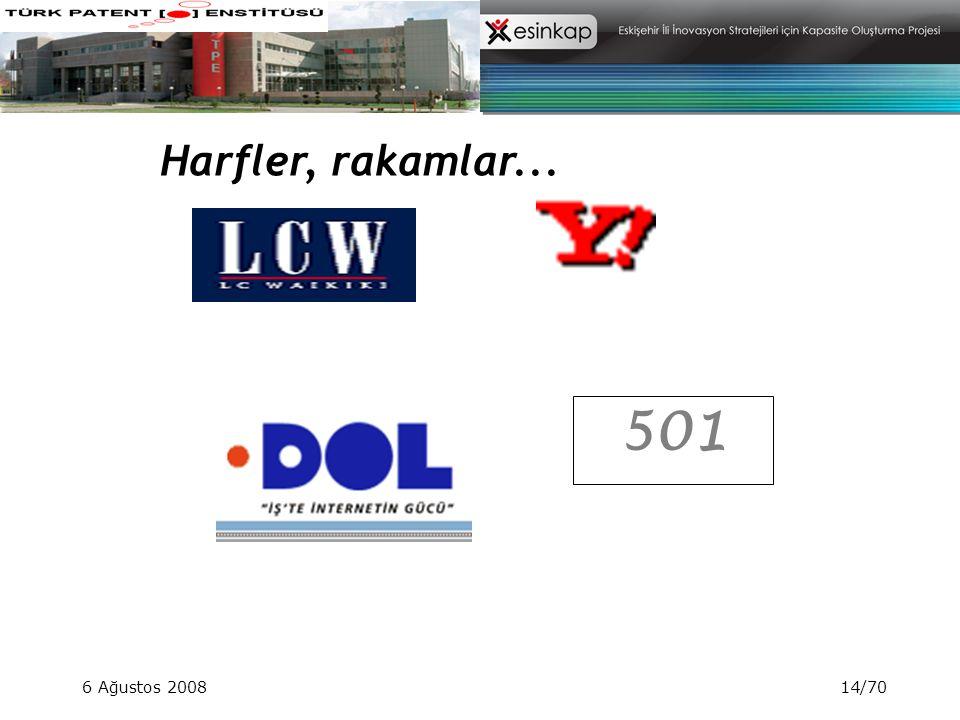Harfler, rakamlar... 501 6 Ağustos 2008