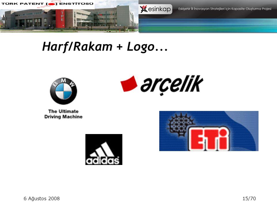 Harf/Rakam + Logo... 6 Ağustos 2008