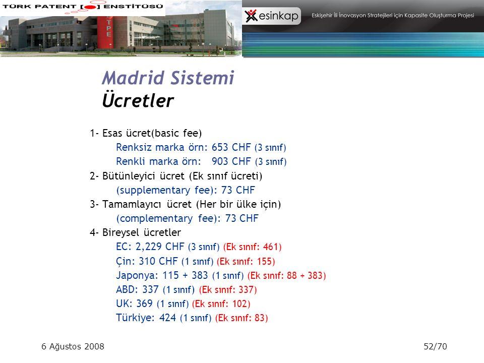 Madrid Sistemi Ücretler