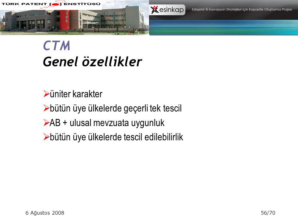CTM Genel özellikler üniter karakter