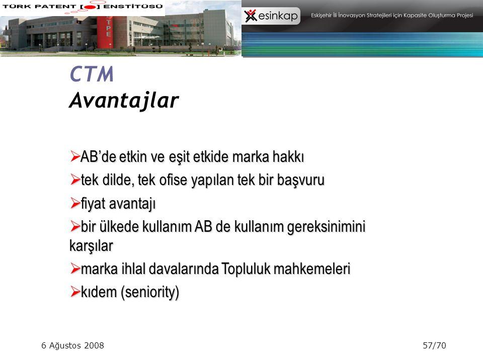 CTM Avantajlar AB'de etkin ve eşit etkide marka hakkı