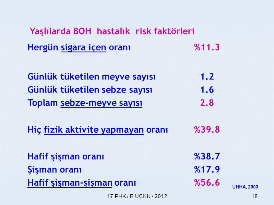 Yaşlılarda BOH hastalık risk faktörleri Hergün sigara içen oranı %11.3
