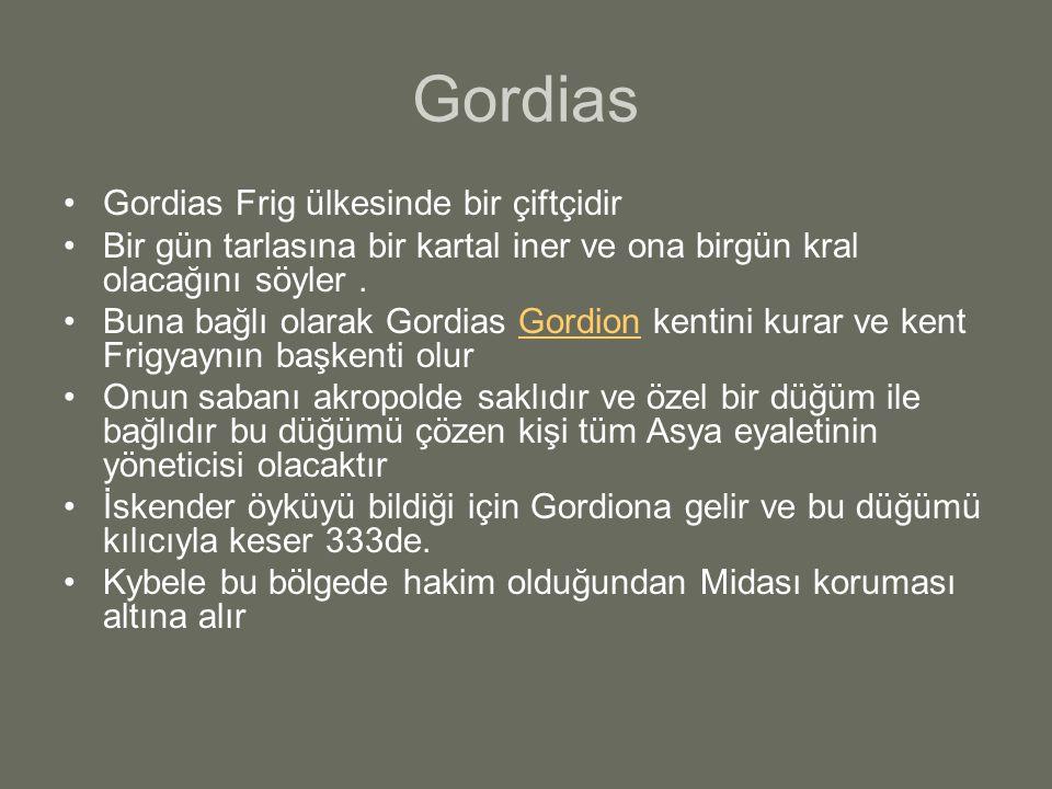 Gordias Gordias Frig ülkesinde bir çiftçidir