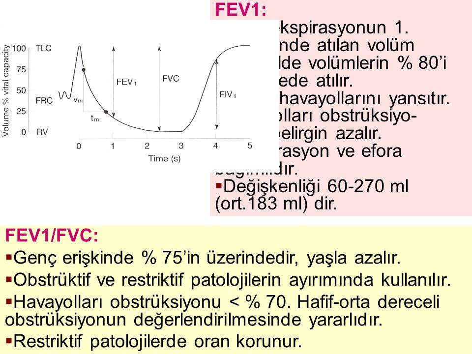FEV1: Zorlu ekspirasyonun 1. saniyesinde atılan volüm. Normalde volümlerin % 80'i ilk saniyede atılır.