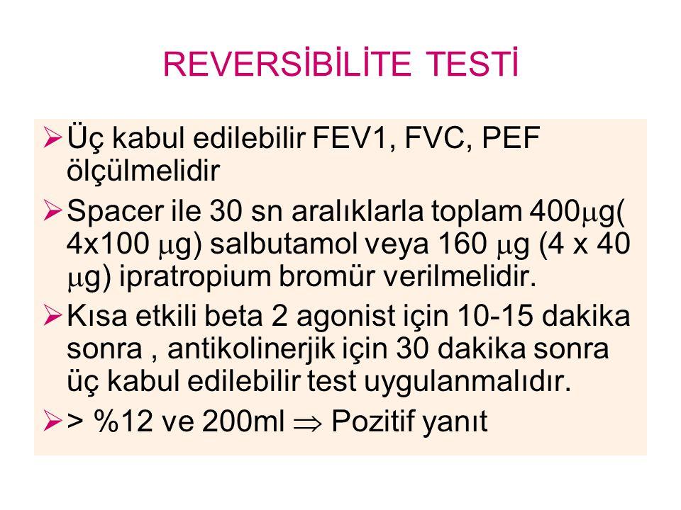 REVERSİBİLİTE TESTİ Üç kabul edilebilir FEV1, FVC, PEF ölçülmelidir