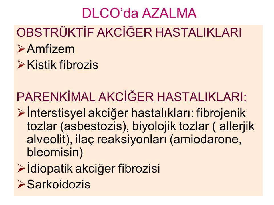 DLCO'da AZALMA OBSTRÜKTİF AKCİĞER HASTALIKLARI Amfizem Kistik fibrozis