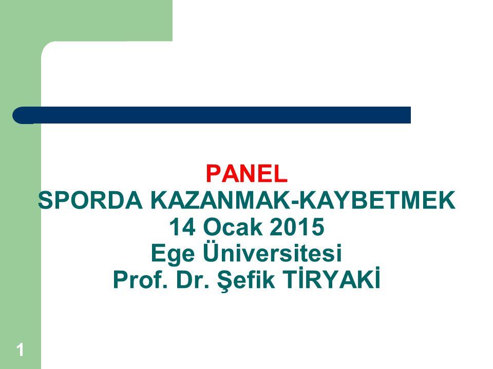 PANEL SPORDA KAZANMAK-KAYBETMEK 14 Ocak 2015 Ege Üniversitesi Prof. Dr