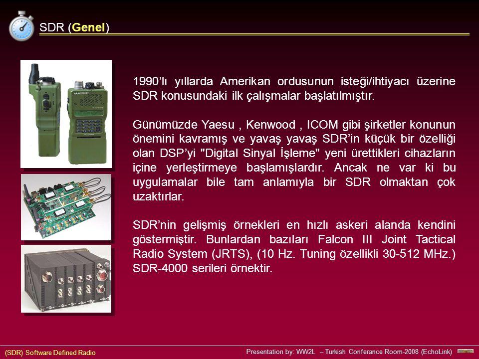 SDR (Genel) 1990'lı yıllarda Amerikan ordusunun isteği/ihtiyacı üzerine SDR konusundaki ilk çalışmalar başlatılmıştır.