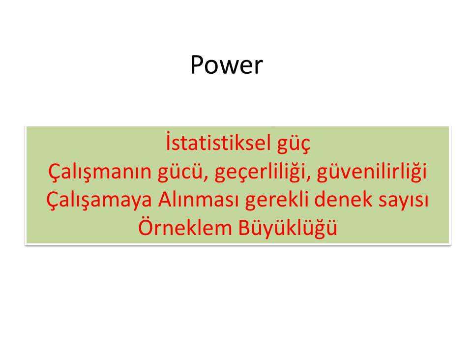 Power İstatistiksel güç Çalışmanın gücü, geçerliliği, güvenilirliği