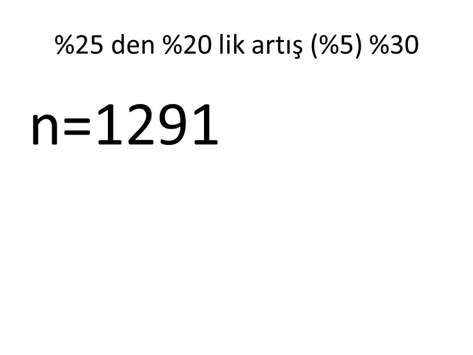 %25 den %20 lik artış (%5) %30 n=1291