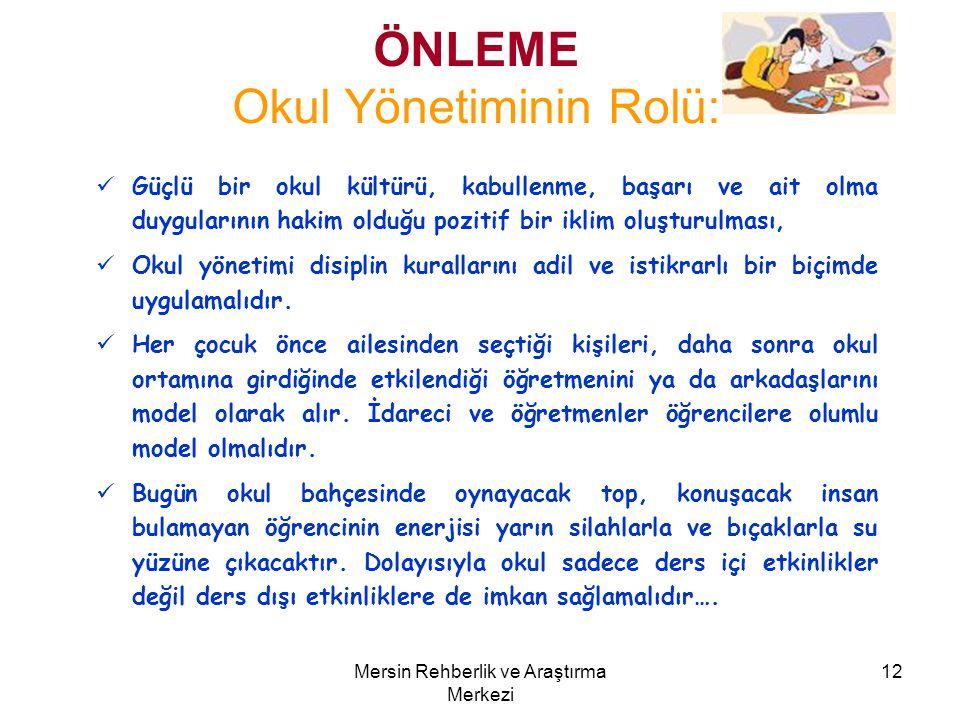 ÖNLEME Okul Yönetiminin Rolü: