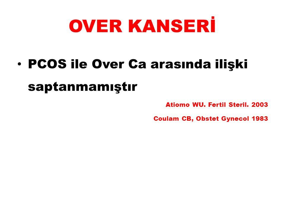 OVER KANSERİ PCOS ile Over Ca arasında ilişki saptanmamıştır