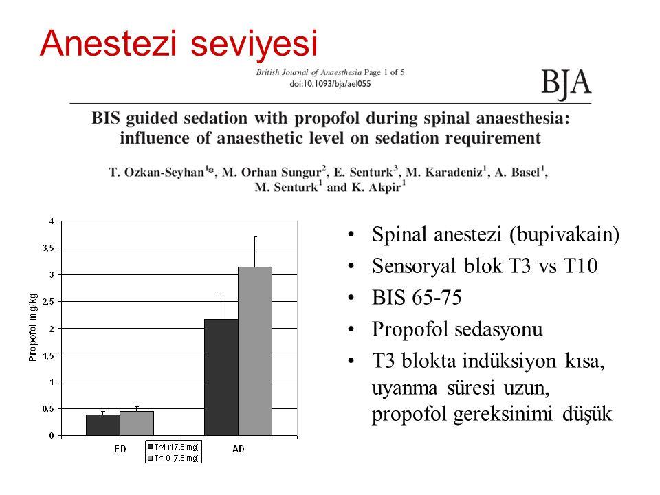 Anestezi seviyesi Spinal anestezi (bupivakain)