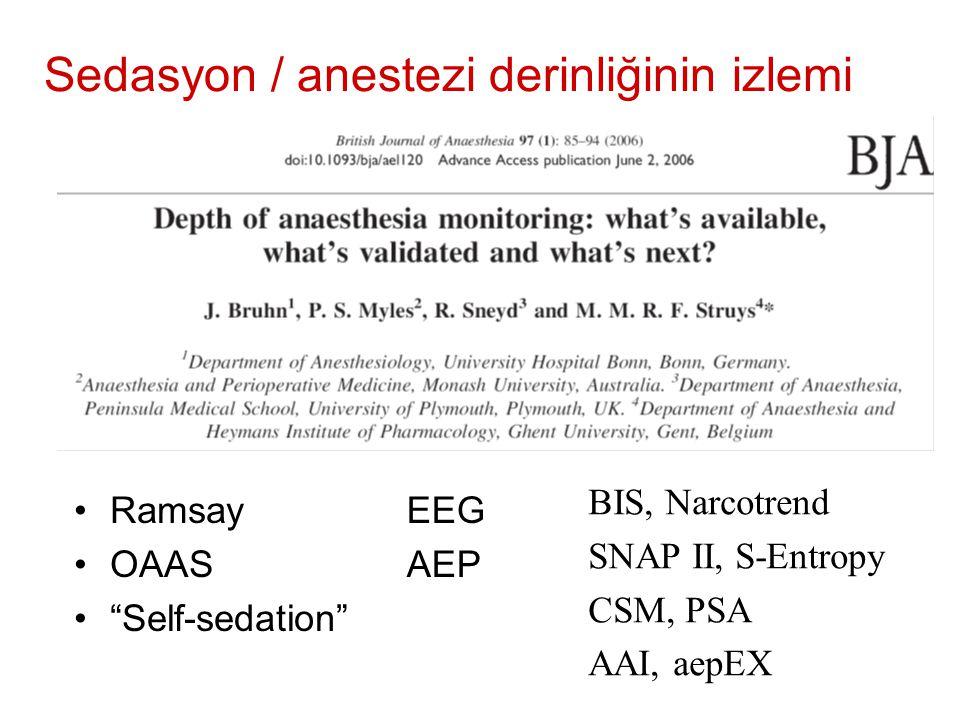 Sedasyon / anestezi derinliğinin izlemi