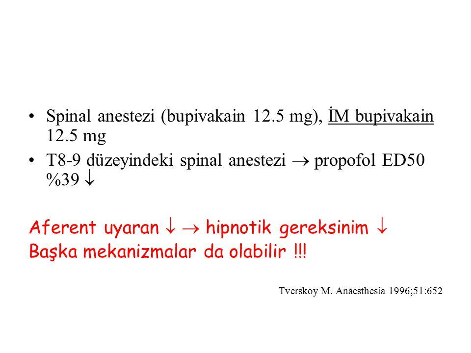 Spinal anestezi (bupivakain 12.5 mg), İM bupivakain 12.5 mg
