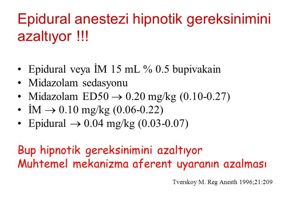 Epidural anestezi hipnotik gereksinimini azaltıyor !!!