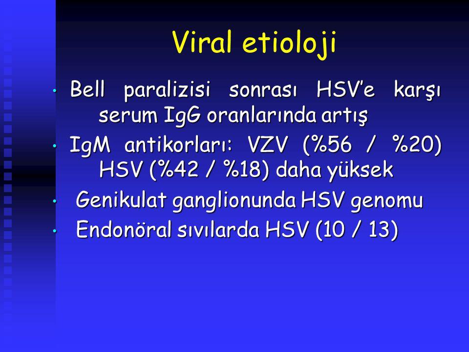 Viral etioloji Bell paralizisi sonrası HSV'e karşı serum IgG oranlarında artış. IgM antikorları: VZV (%56 / %20) HSV (%42 / %18) daha yüksek.