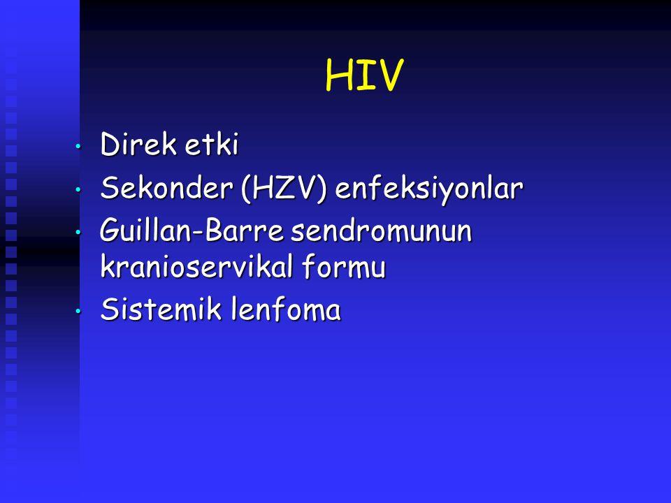 HIV Direk etki Sekonder (HZV) enfeksiyonlar