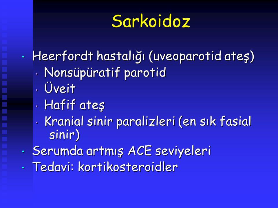 Sarkoidoz Heerfordt hastalığı (uveoparotid ateş) Nonsüpüratif parotid