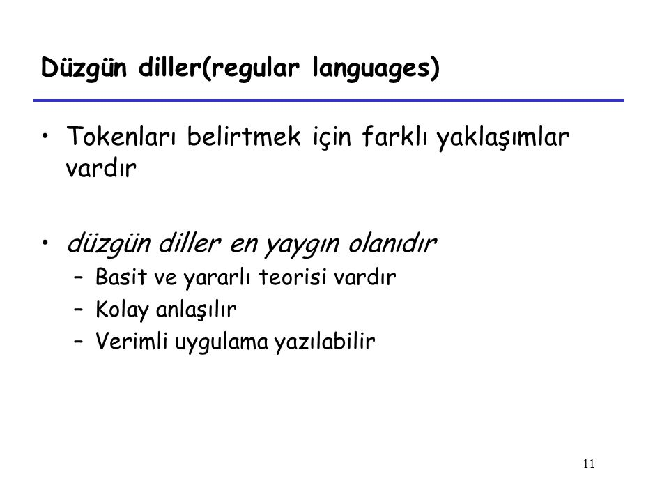 Düzgün diller(regular languages)