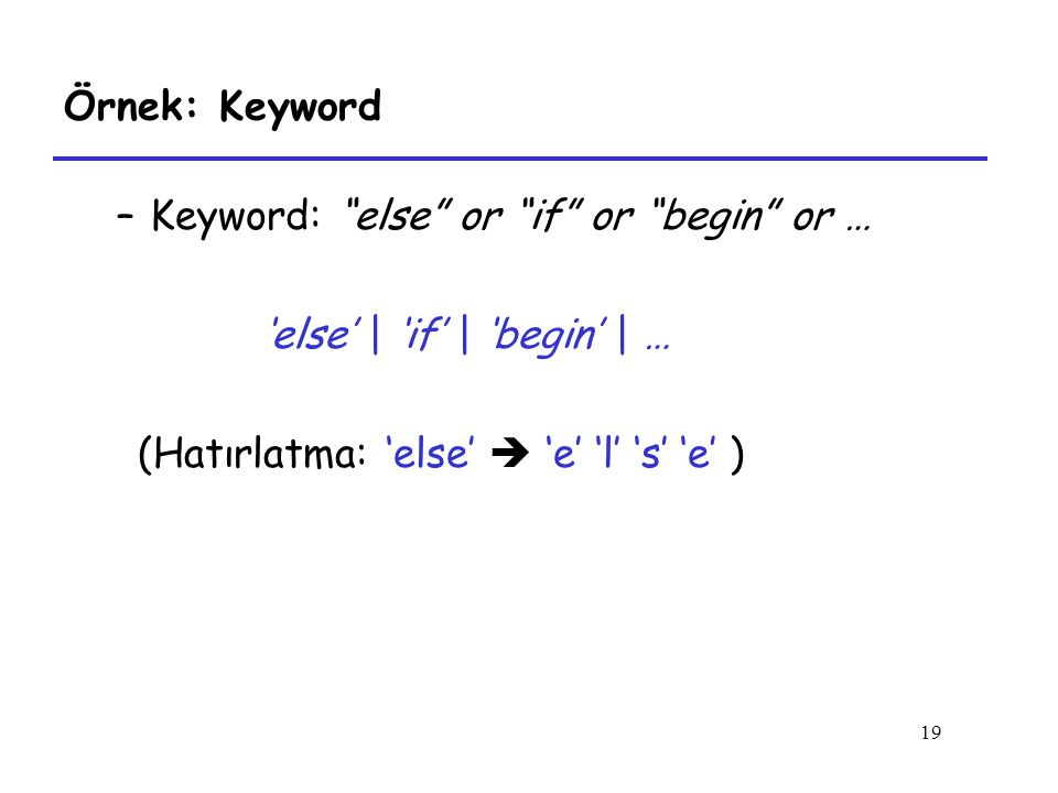 Keyword: else or if or begin or …