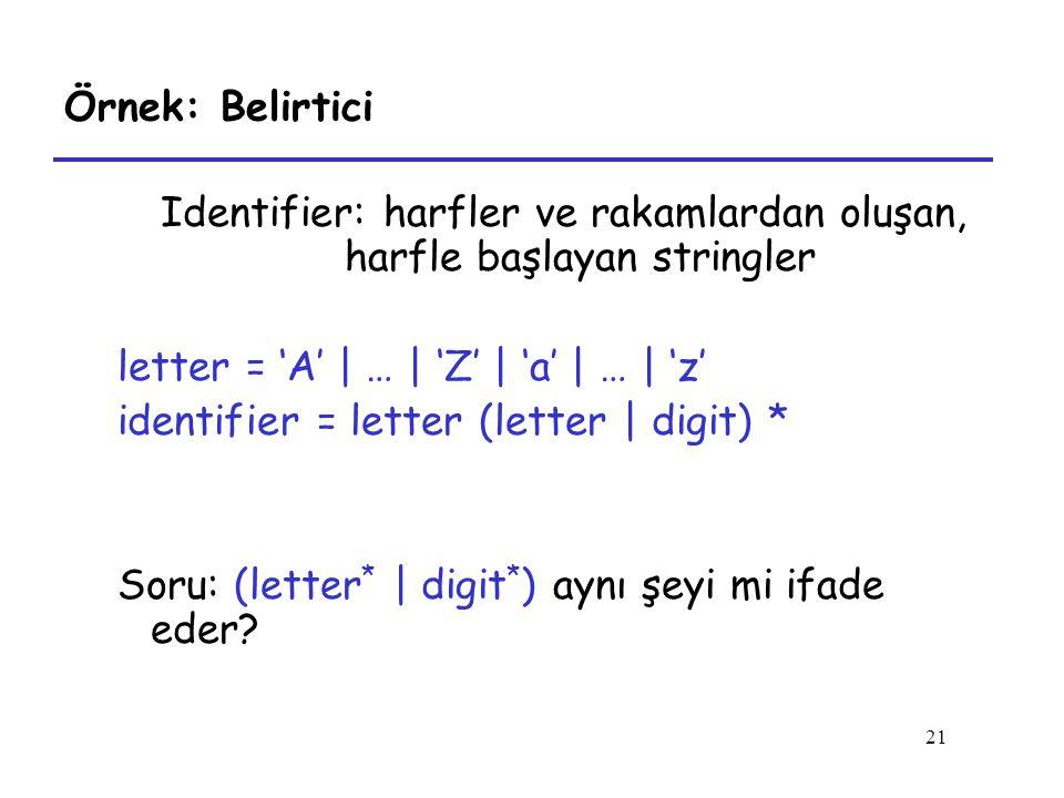Identifier: harfler ve rakamlardan oluşan, harfle başlayan stringler