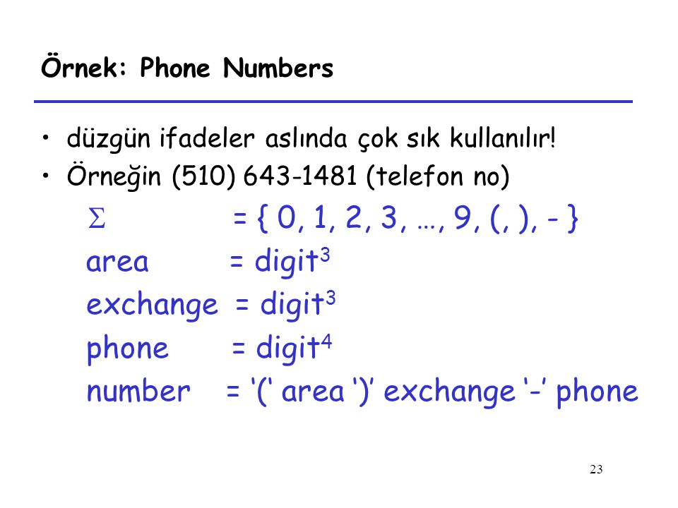 number = '(' area ')' exchange '-' phone