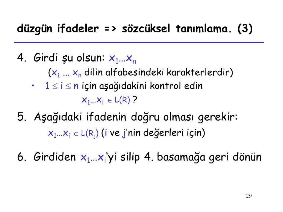 düzgün ifadeler => sözcüksel tanımlama. (3)