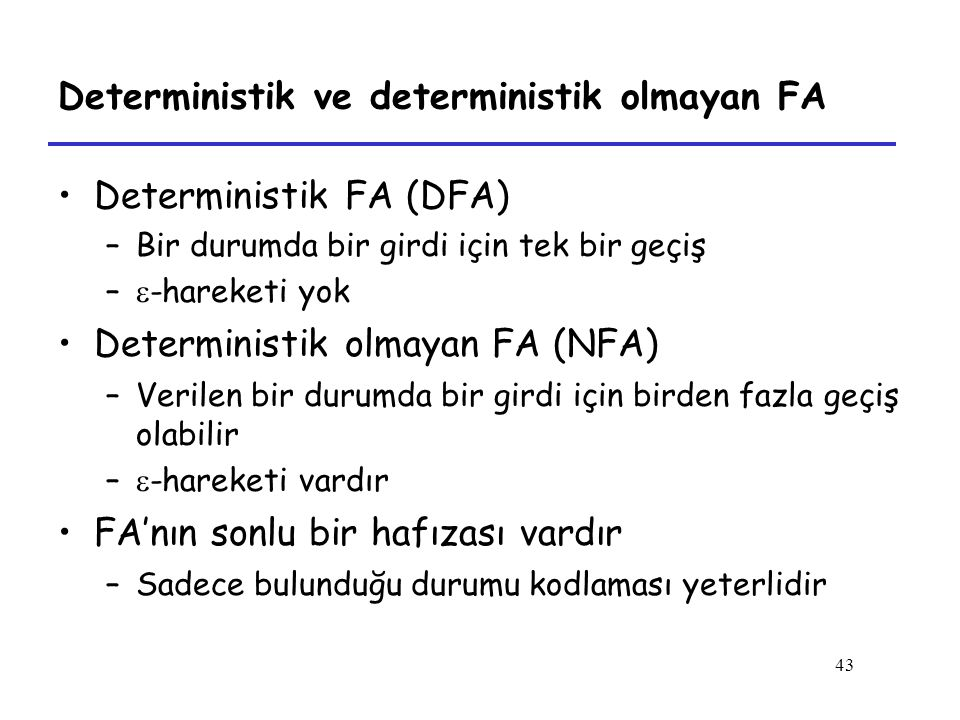 Deterministik ve deterministik olmayan FA