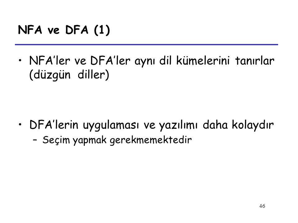 NFA'ler ve DFA'ler aynı dil kümelerini tanırlar (düzgün diller)