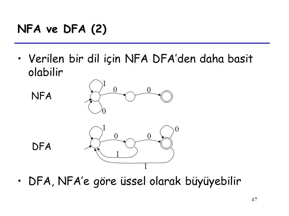 Verilen bir dil için NFA DFA'den daha basit olabilir