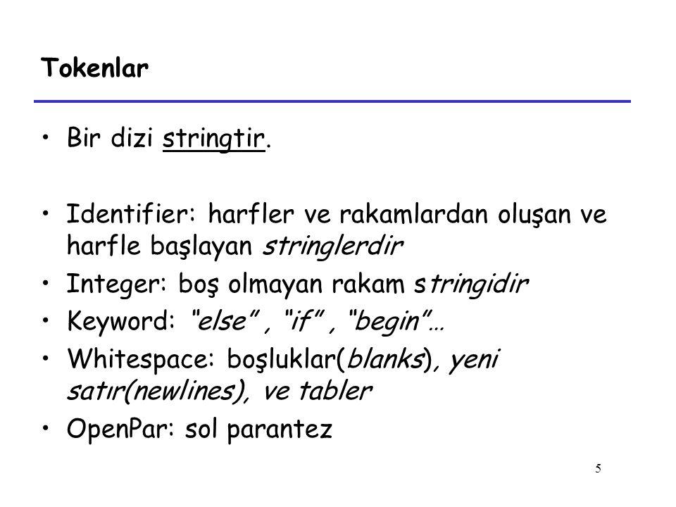 Tokenlar Bir dizi stringtir. Identifier: harfler ve rakamlardan oluşan ve harfle başlayan stringlerdir.