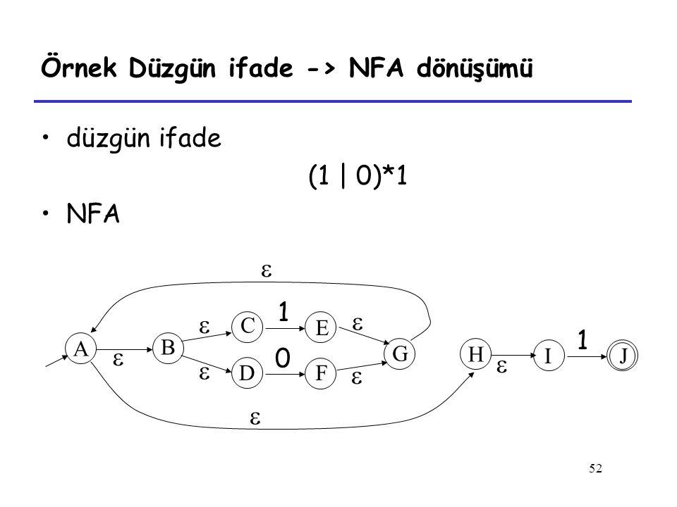 Örnek Düzgün ifade -> NFA dönüşümü