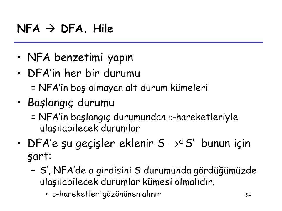 DFA'e şu geçişler eklenir S a S' bunun için şart: