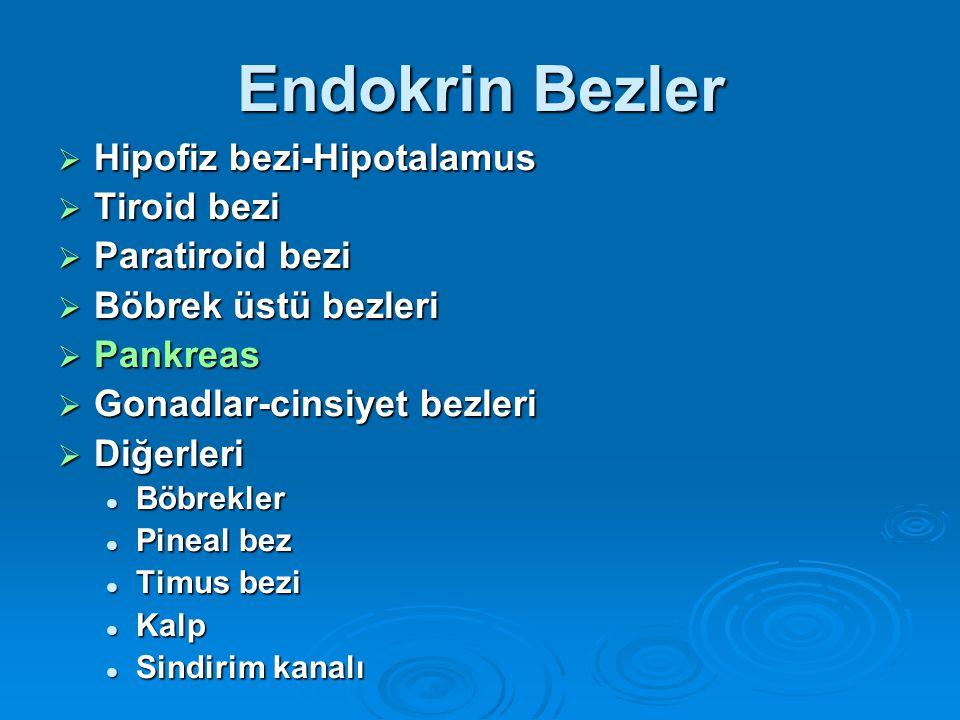 Endokrin Bezler Hipofiz bezi-Hipotalamus Tiroid bezi Paratiroid bezi