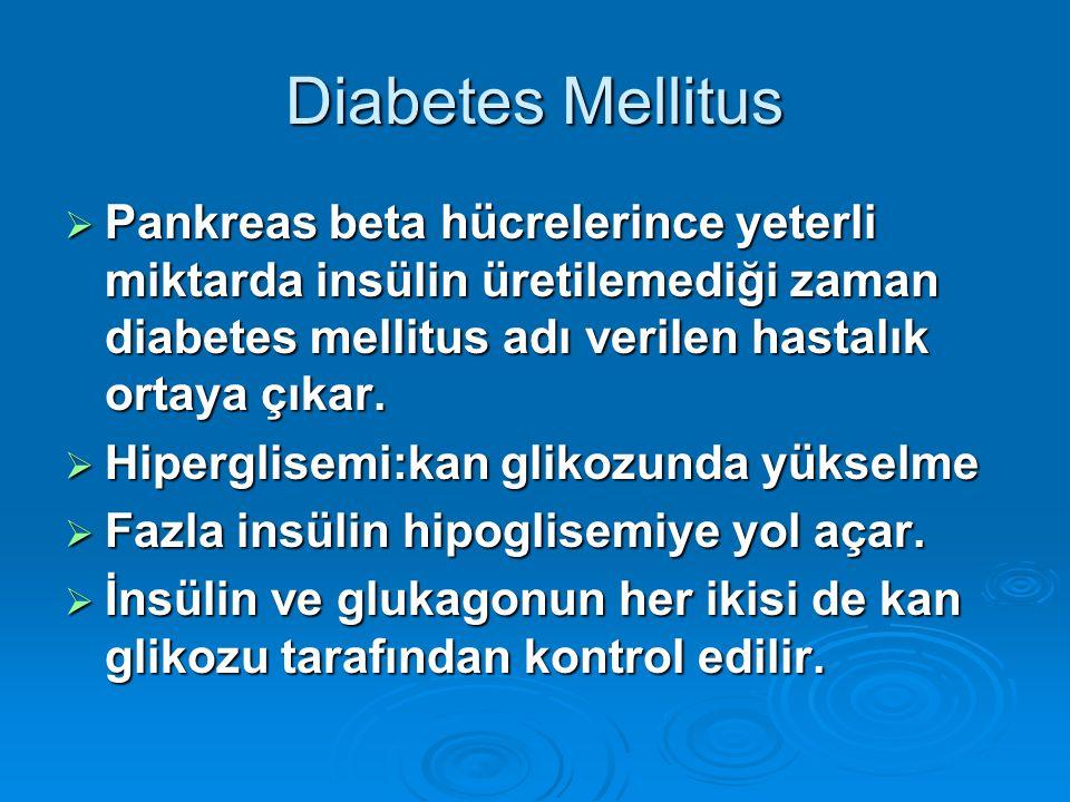 Diabetes Mellitus Pankreas beta hücrelerince yeterli miktarda insülin üretilemediği zaman diabetes mellitus adı verilen hastalık ortaya çıkar.