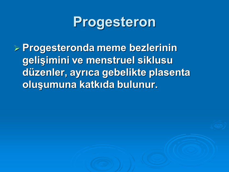 Progesteron Progesteronda meme bezlerinin gelişimini ve menstruel siklusu düzenler, ayrıca gebelikte plasenta oluşumuna katkıda bulunur.