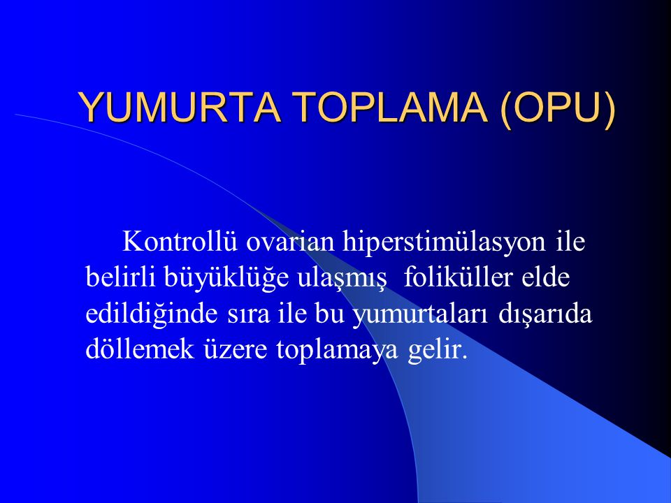 YUMURTA TOPLAMA (OPU)
