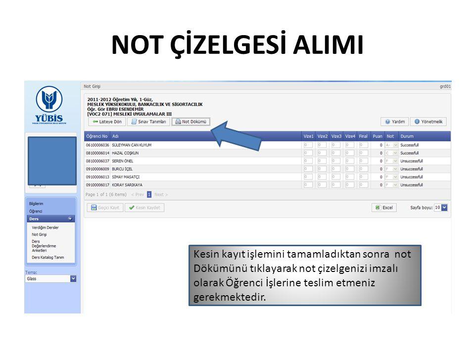 NOT ÇİZELGESİ ALIMI