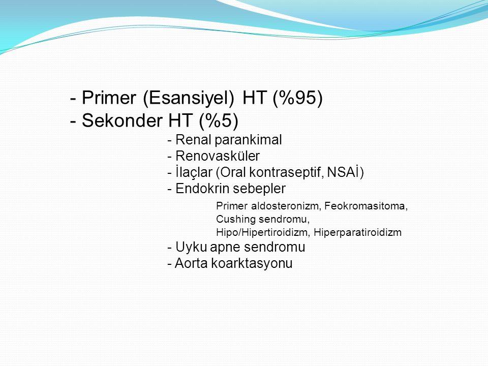 - Primer (Esansiyel) HT (%95) - Sekonder HT (%5)