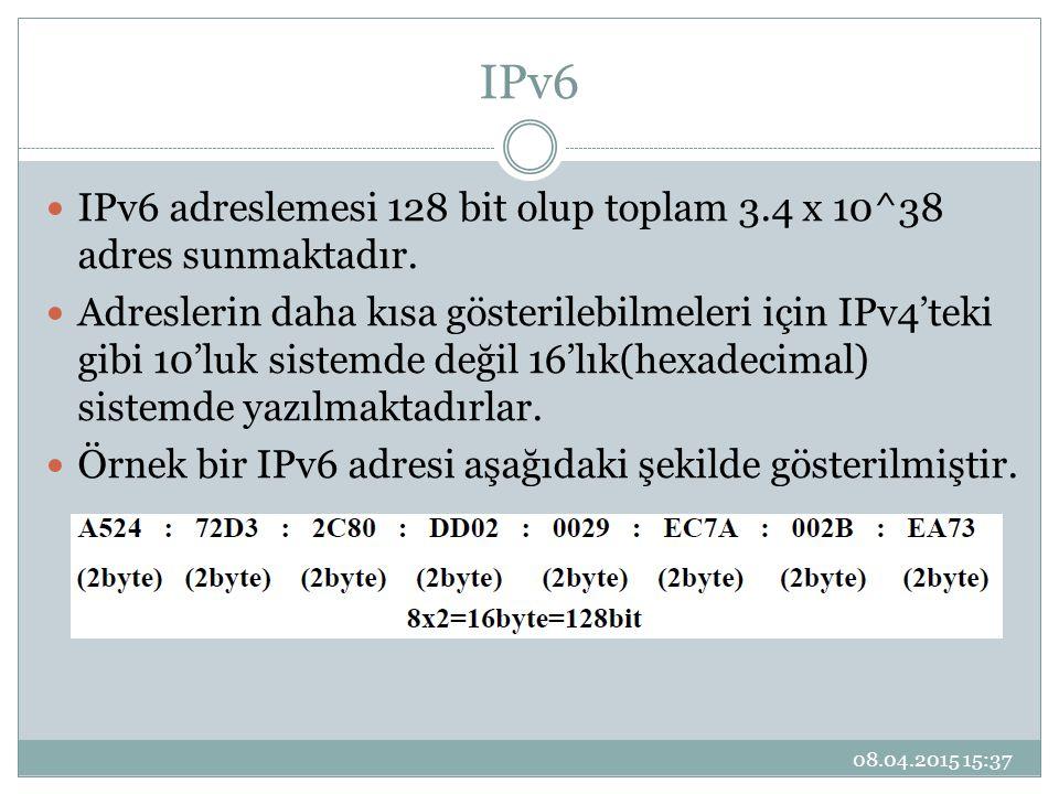IPv6 IPv6 adreslemesi 128 bit olup toplam 3.4 x 10^38 adres sunmaktadır.