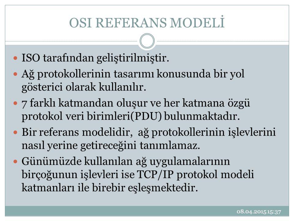 OSI REFERANS MODELİ ISO tarafından geliştirilmiştir.