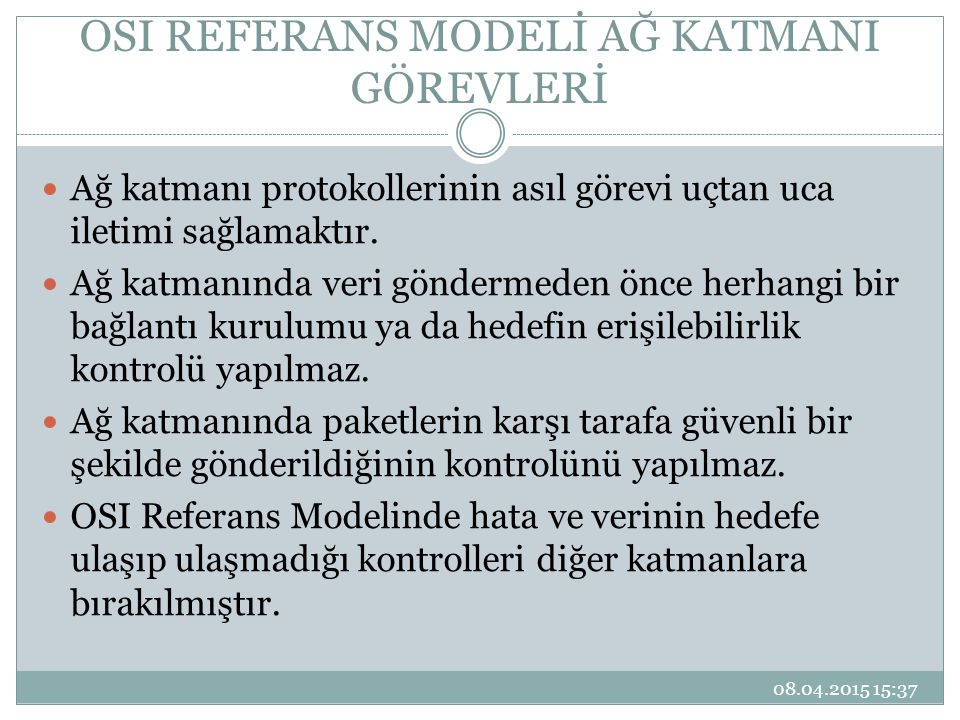 OSI REFERANS MODELİ AĞ KATMANI GÖREVLERİ