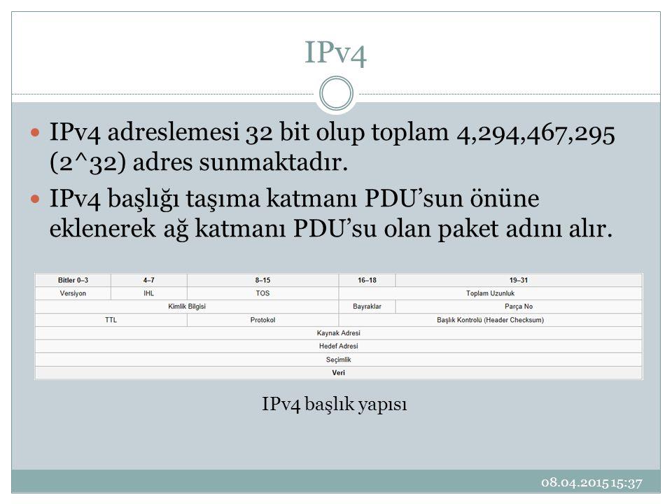 IPv4 IPv4 adreslemesi 32 bit olup toplam 4,294,467,295 (2^32) adres sunmaktadır.