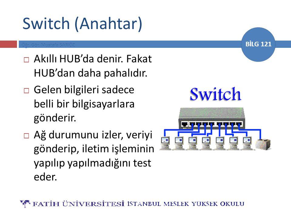 Switch (Anahtar) Akıllı HUB'da denir. Fakat HUB'dan daha pahalıdır.